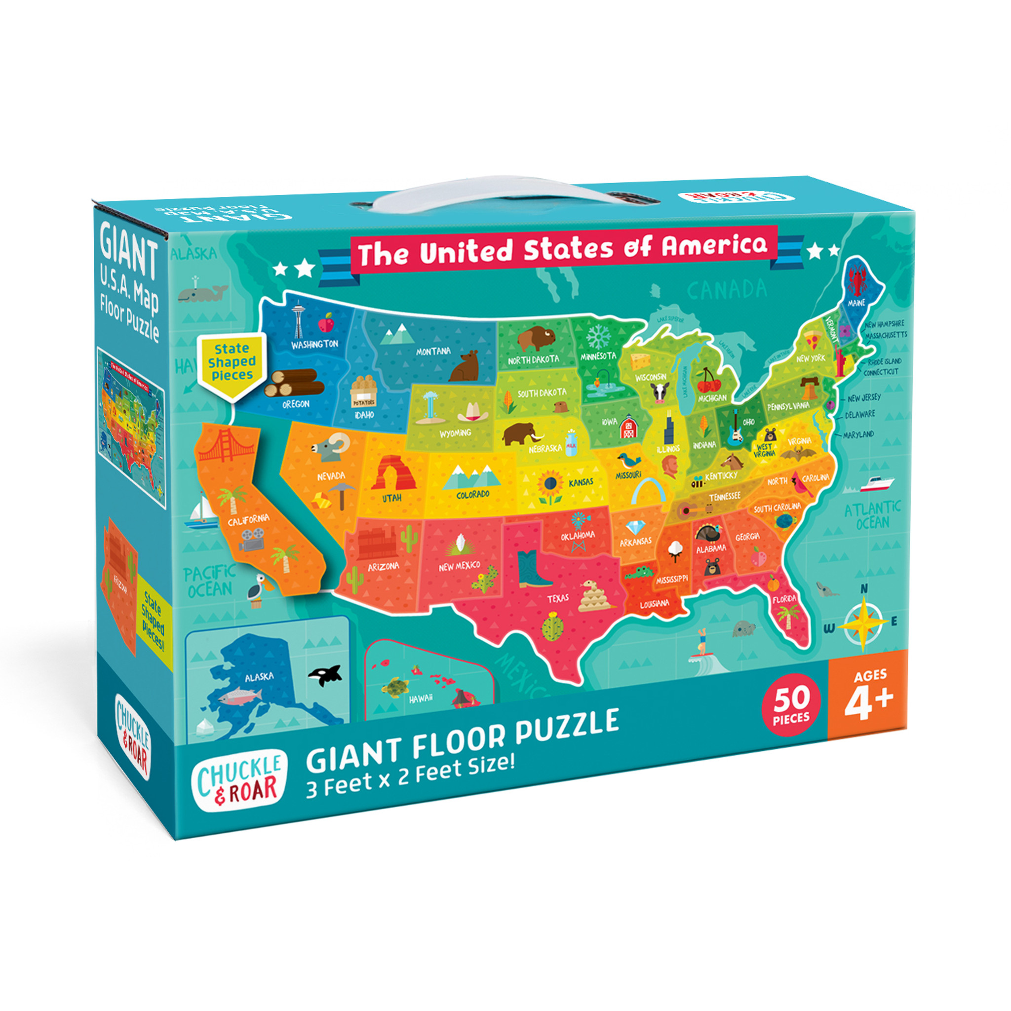 USA Map 50 Piece Jigsaw Floor Puzzle