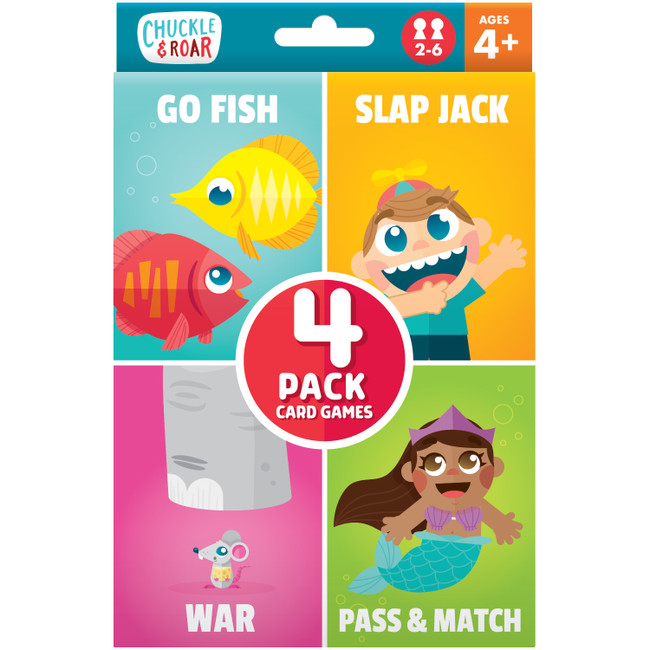 4 Pack of Classic Card Games- Go Fish, Slap Jack, War, and Pass & Match Box