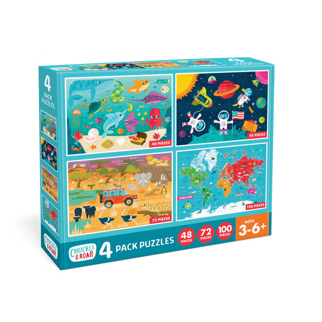 4 Pack of Jigsaw Puzzles- 48, 72, and 100 Pieces Box