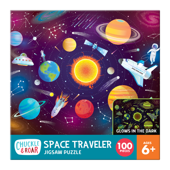 Space Traveler 100 Piece Glow-In-The-Dark Jigsaw Puzzle Box
