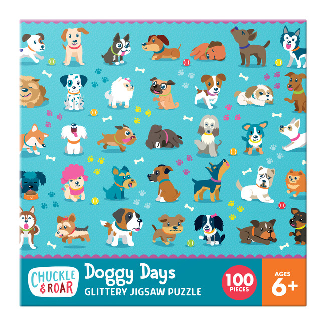 Doggy Days 100 Piece Glittery Jigsaw Puzzle Box