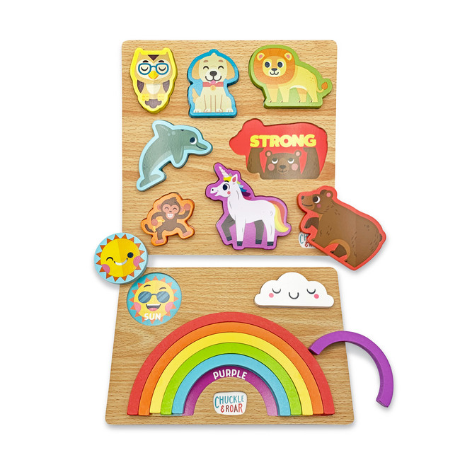 2 Pack Wooden Puzzles- Rainbow and Animals
