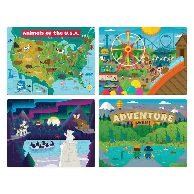 4 Pack Tray Jigsaw Puzzles- 36 and 48 Piece Puzzles