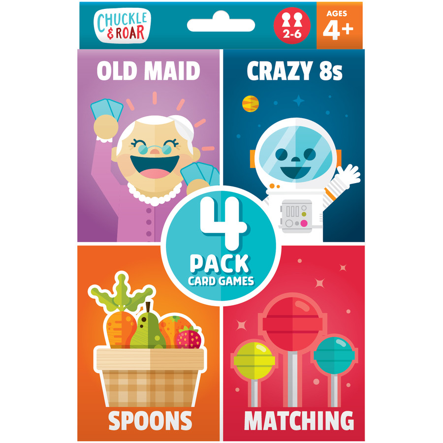 4  Pack of Classic Card Games- Old Maid, Spoons, Matching, and Crazy 8s Front