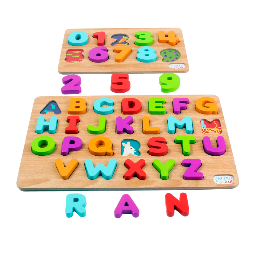 2 Pack of Wood Puzzles - ABCs and 123s