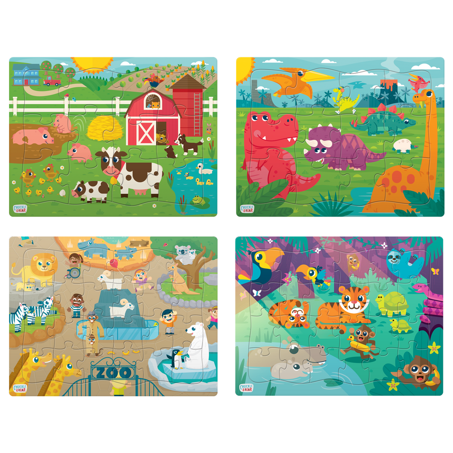 4 Pack of Tray Puzzles - 12 and 24 Pieces