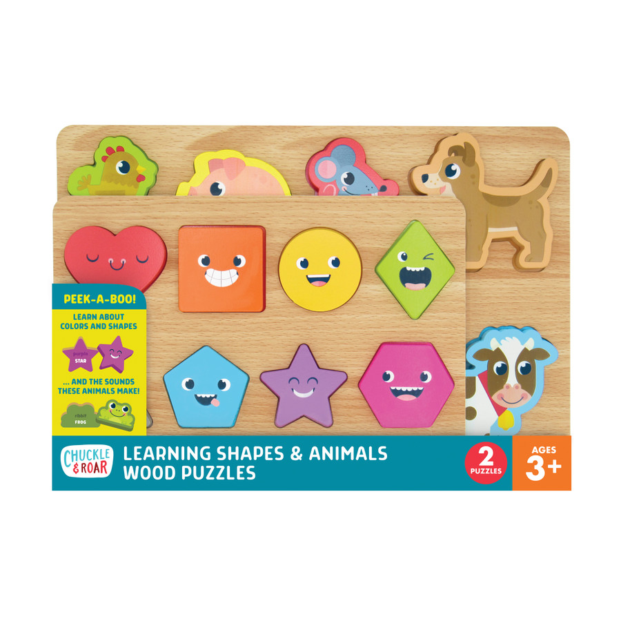 2 Pack of Wood Puzzles - Shapes & Animals Learning Puzzles Front