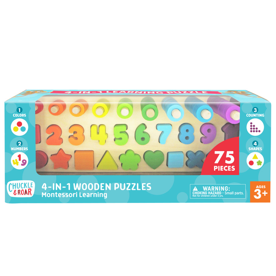 4-in-1 Wooden Montessori Learning Puzzle Front