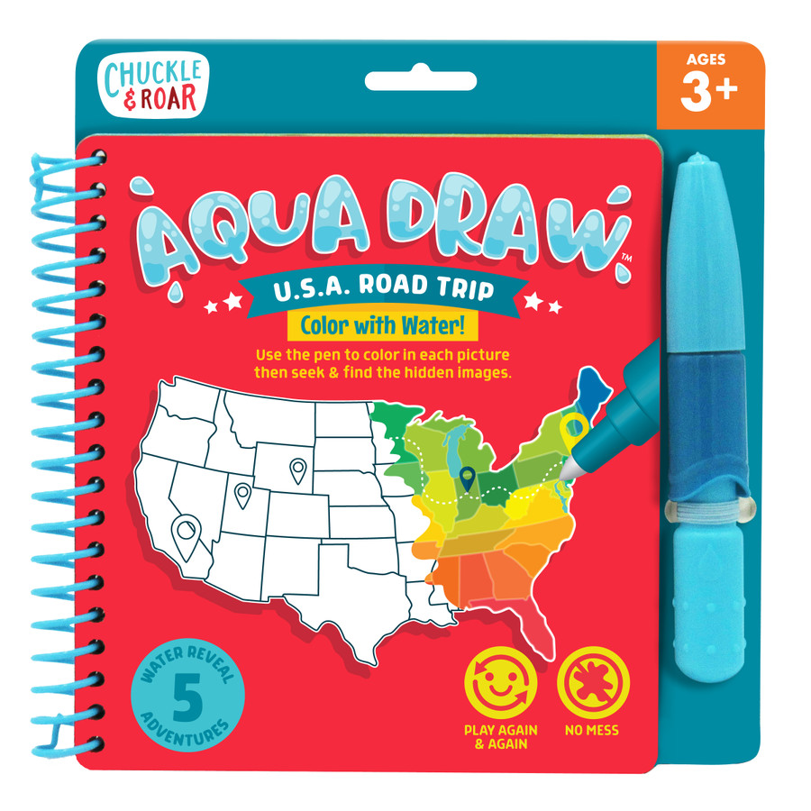 Aqua Draw USA Road Trip- Color With Water Travel Game Front