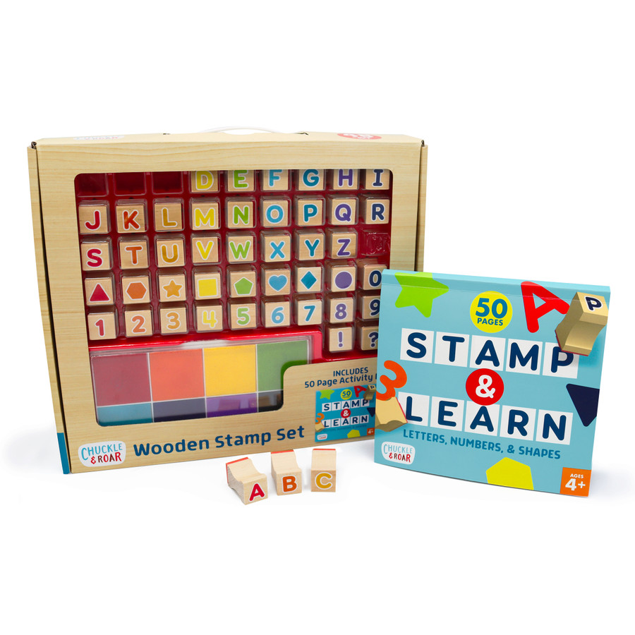 Wooden Stamp Set - Letters, Numbers, Shapes and Activity Book Contents