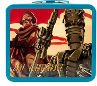 """The exclusive The Mandalorian Lunchbox is a retro homage to vintage collectible lunch boxes which first appeared back in 1935. Make a statement with your very own tin lunchbox of The Mandalorian featuring The Child (also affectionately known as Baby Yoda), Kuiil, and IG-11. This durable metal lunch box has a classic latch closure and collapsible handle. Hand wash or wipe clean.  Dimensions: 7""""(H) x 8""""(W) x 4""""(D)"""