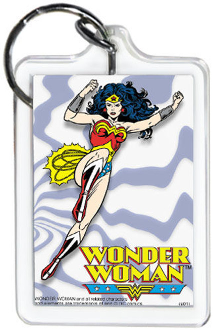 "DC Comics Wonder Woman Flying 3"" x 2"" Officially Licensed Lucite Double Sided Ke"