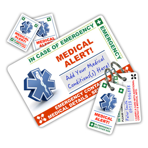 MEDICAL ALERT ICEcard Pack - 1 Card with 2 Key Rings & 2 Stickers