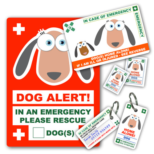 DOG design PetICE PREMIUM BUNDLE - 1 Card, 2 Key Rings, 2 Stickers & 1 Window Cling