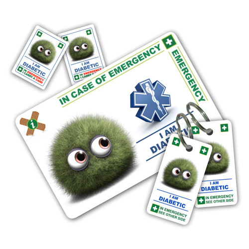 DIABETIC CHILD ICEcard Pack - 1 Card with 2 Key Rings & 2 Stickers