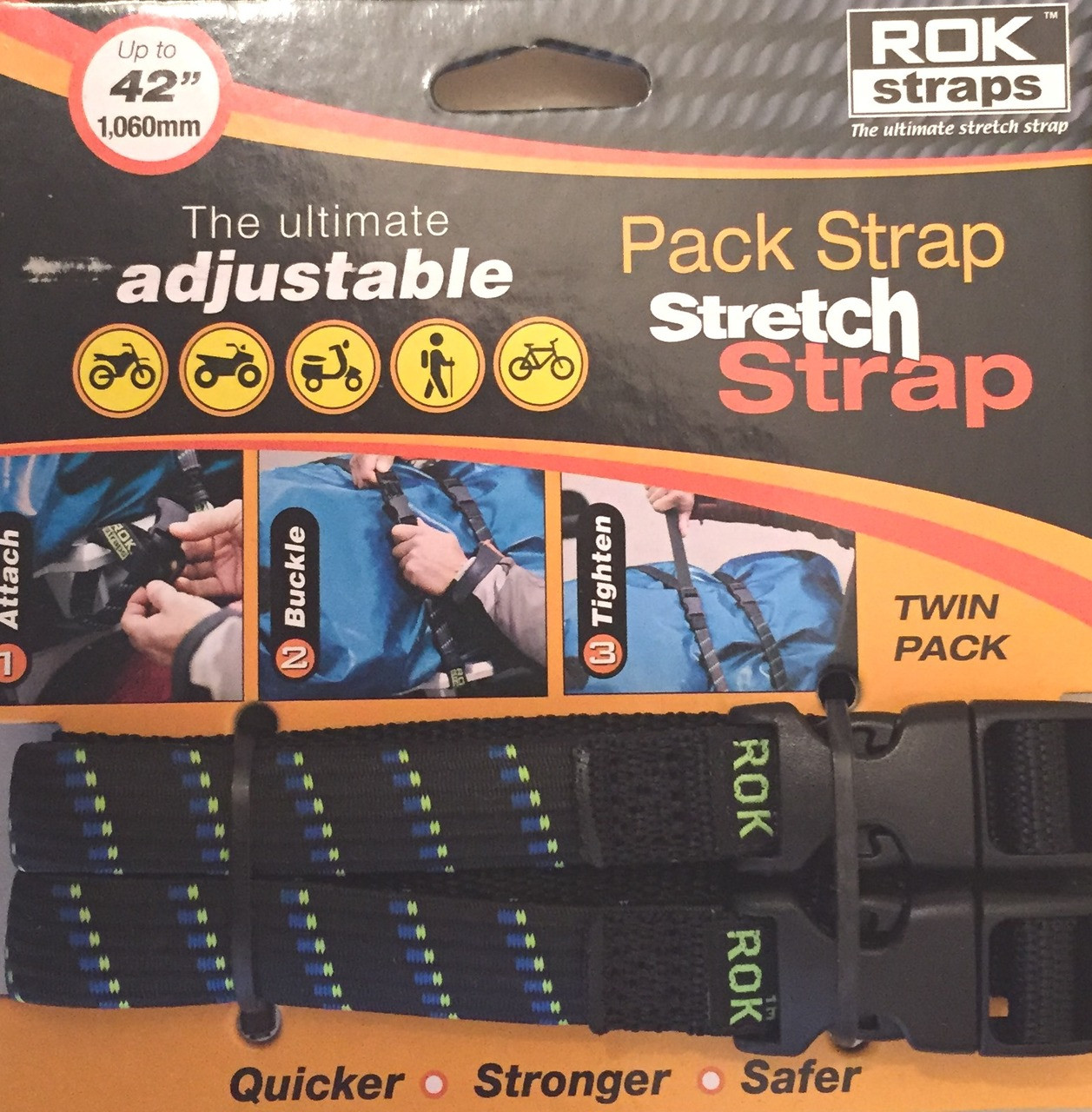ROK Straps Adjustable Pack Strap 42 x 5/8 inch Moto Plaid