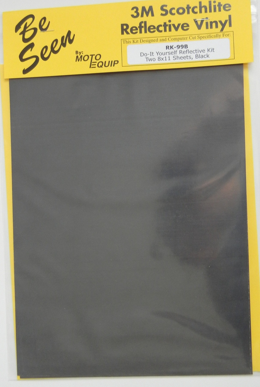"Motorcycle BLACK Reflective Tape Kit two 8"" x 11"" Sheets DYI"