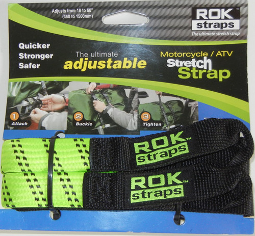 ROK Straps Motorcycle Adjustable Strap 60 x 1 inch Hi-Viz Green