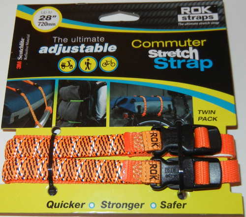 ROK Straps Adjustable Commuter Reflective Strap 28 x 3/8 inch Hi-Viz Orange
