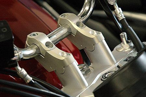 "Handlebar Riser Bar Backs moves 2"" diagonal in Silver for BMW R1200R 05-10"