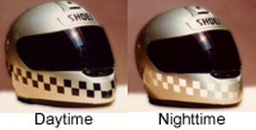 Motorcycle Helmet Black Reflective Checkered Tape Kit 3M Stand out