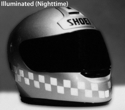 Motorcycle Helmet Silver Reflective Checkered Tape Kit 3M Stand out