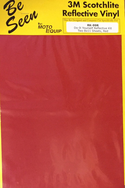 "Motorcycle RED Reflective Tape Kit two 8"" x 11"" Sheets DYI"