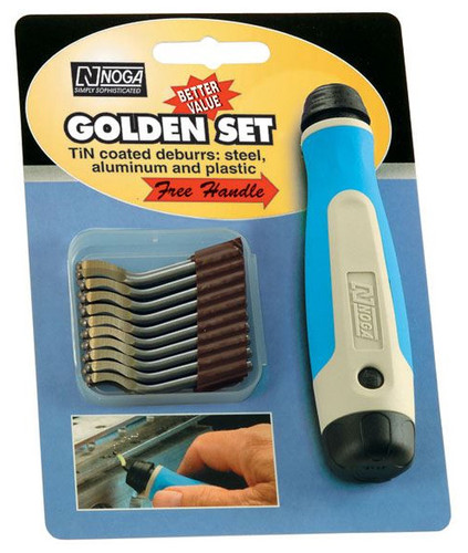 NOGA 10 Piece S10 Tin Coated Blade Set with Handle NG8152 - 99-001-513