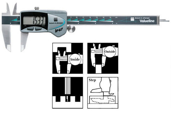 "BROWN /& SHARPE #00599392 8/"" DIGITAL CALIPER IP67 VALUELINE    E187"