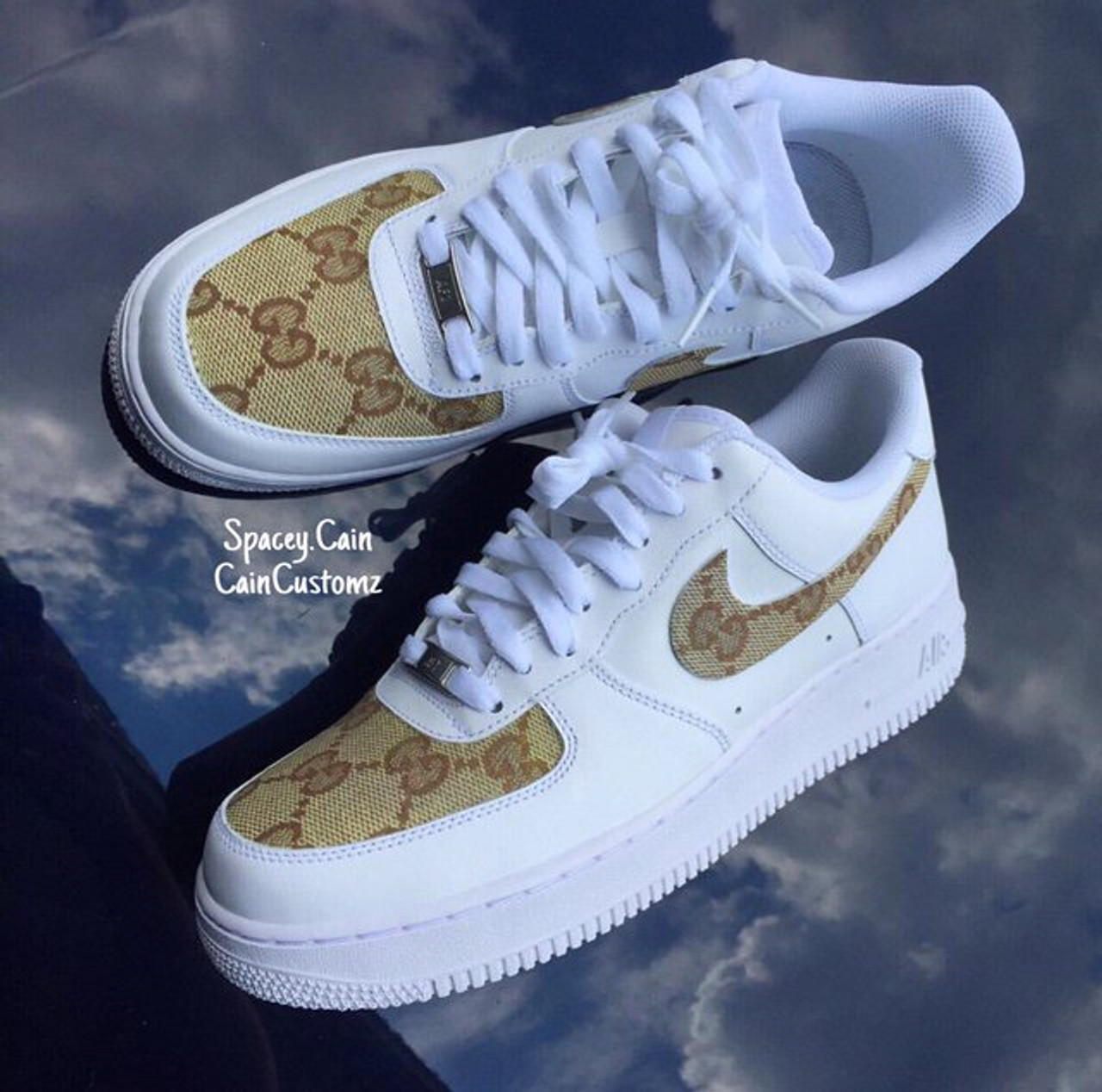 Beige Designer Air Force One Lows Men Gs Cain Customz