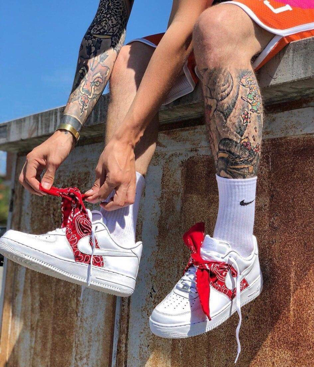 Red bandana Airforces ( GS AND MEN