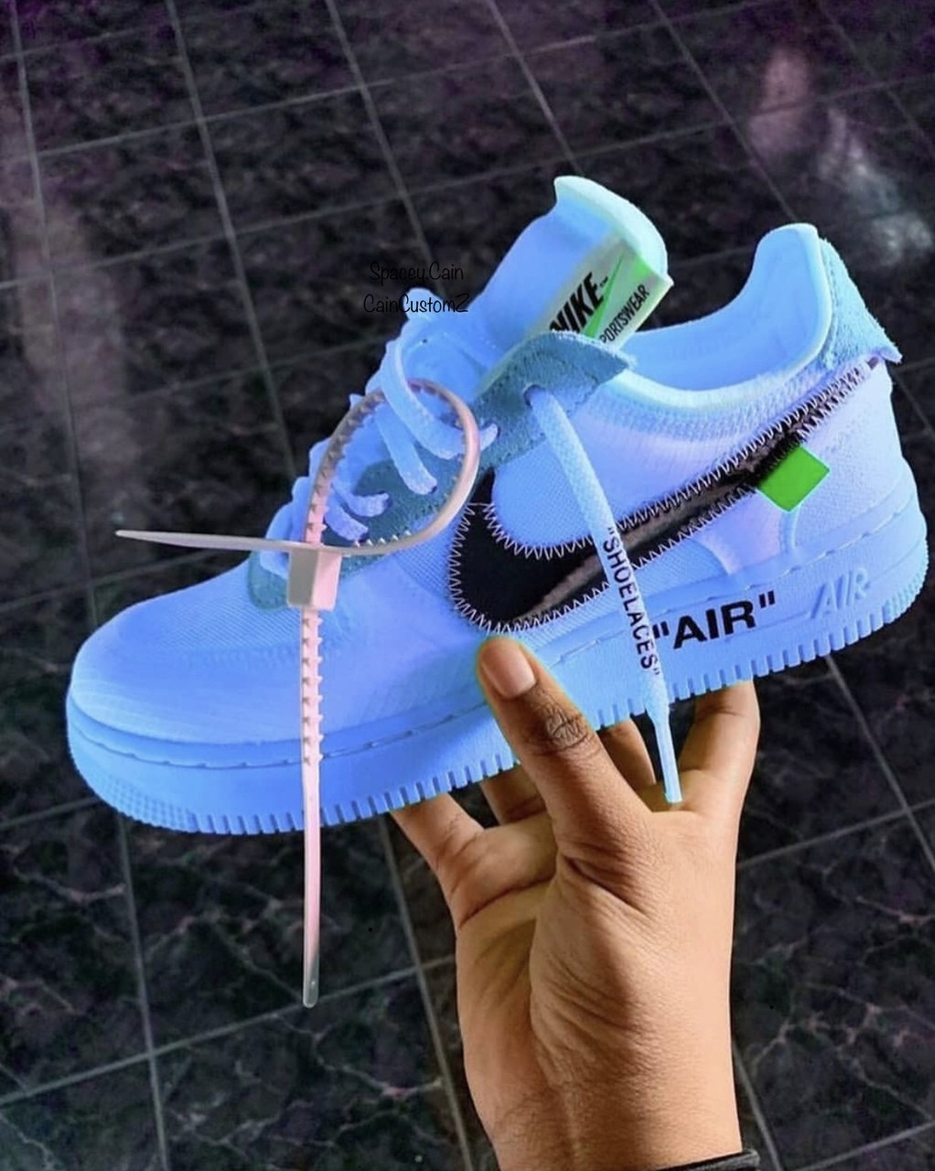 new style 64a3d 6a49d Sky Volt Off White Air Force Ones ( GS AND MEN SIZES ) NO SIZE 14