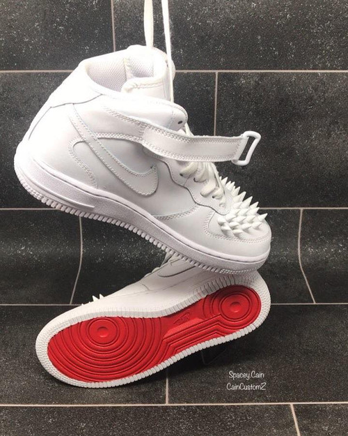 Red Bottom Spike MidTop Airforces GS AND MEN SIZES