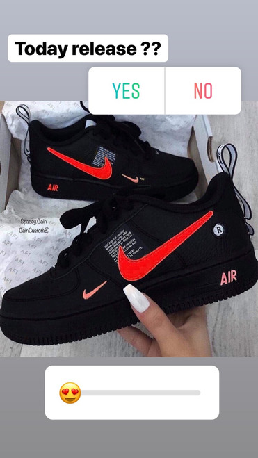 64729373ec092 Black Fire Red Utility Airforces (GS AND MEN SIZES )