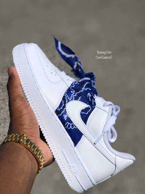 Blue Bandana Airforces GS AND MEN SIZES