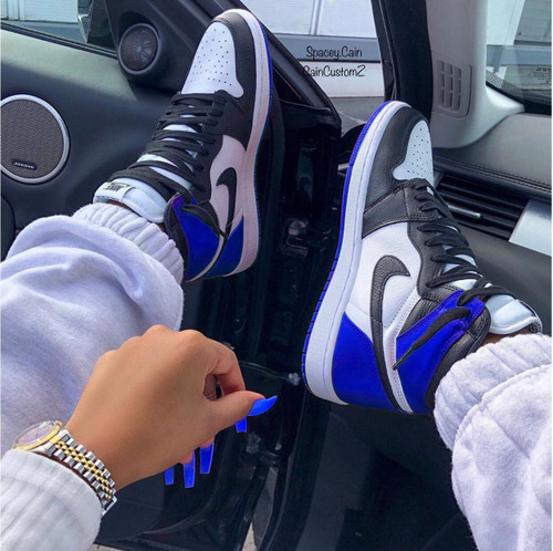Royal Black Toe Satin 1s ( GS AND MEN SIZE )