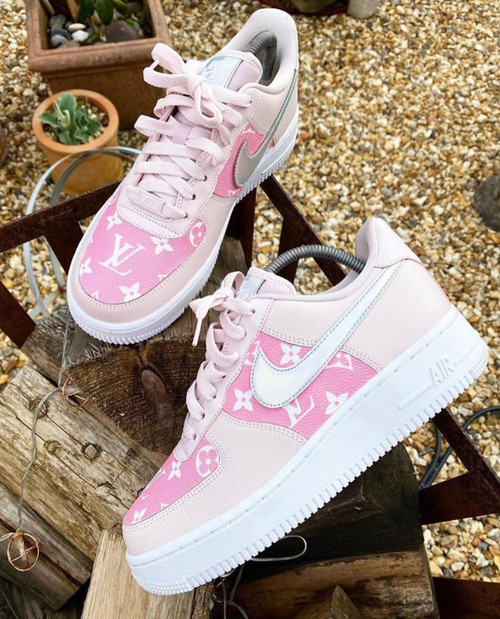 Pink Lemonade Limited Edition LV  AIRFORCES GS AND MEN SIZES