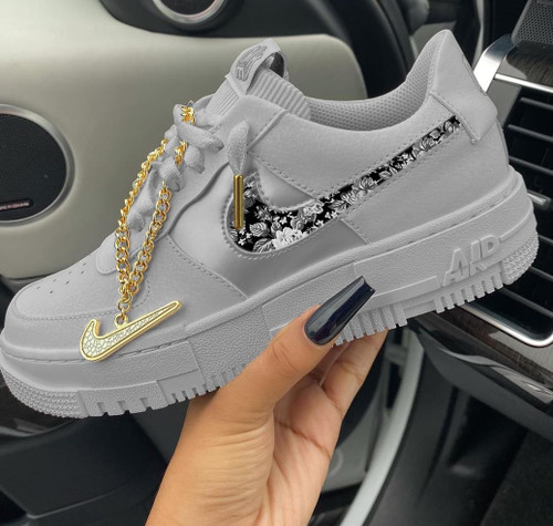 Grey Gold Pixel Airforces ( GS AND MEN SIZES )