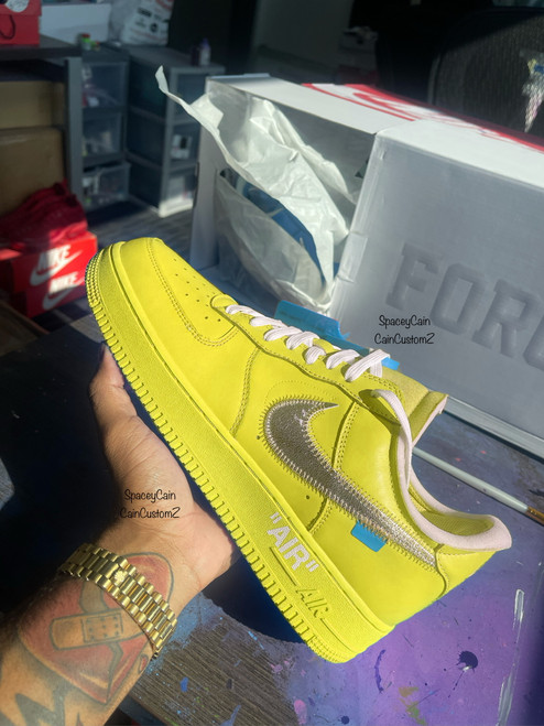 Lemon Off White Airforces ( GS AND MEN SIZES )