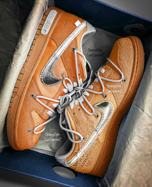 The 50 Orange Crush Off White Dunk Low ( GS and Men Sizes )