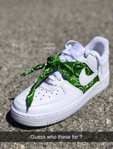 4kt Slime Green Bandana Airforces Gs And Men Sizes Cain Customz