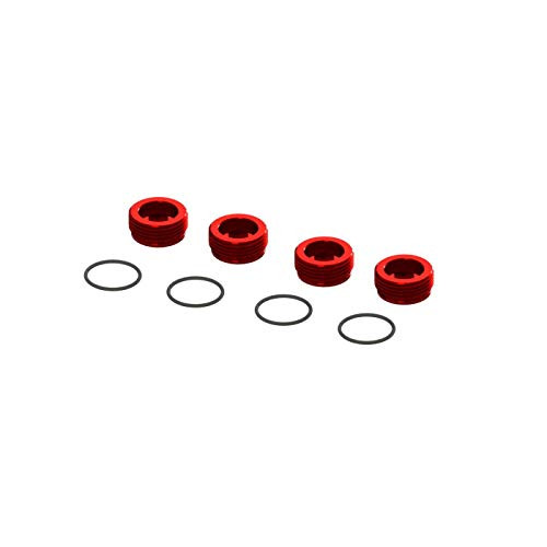 ARRMA Aluminum Front Hub Nut Red (4) with O-Rings, ARA320467