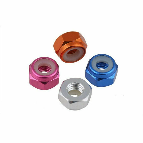 Aluminum M5 Lock nuts Multiple Colors No Flange Regular or Reverse Thread 1 PC