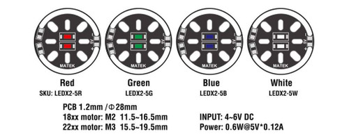 Matek LED CIRCLE X2/5V MOTOR MOUNT LEDX2-5XW White LEDX2-5W