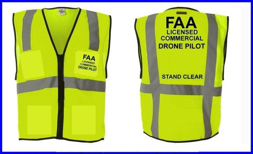 Drone Pilot FAA Part 107 Compliant Safety Vest-Yellow-Xtra Large