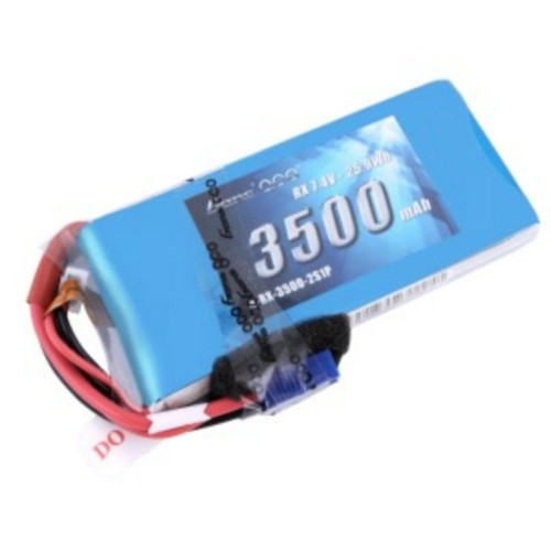 Gens ace 3500mAh 7.4V RX 2S1P Lipo Battery Pack with JR and EC3 plug