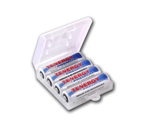 Tenergy Premium 4 pcs AA 2500mAh NiMH Rechargeable Batteries + 1 AA Size Holder