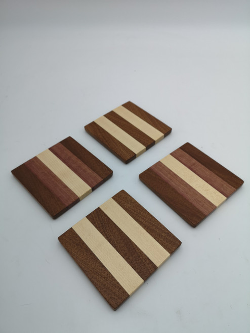 Sapele, maple,  and purple heart coaster set