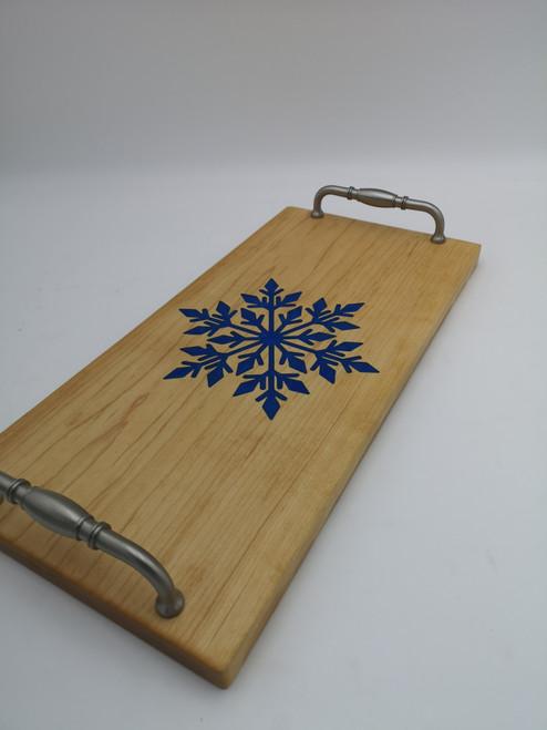 Epoxy inlay serving board - Snowflake