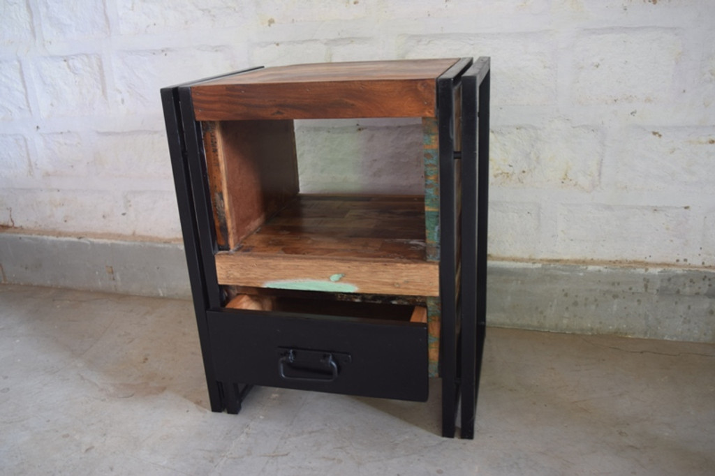 Picture of: Iron And Reclaimed Wood Bedside Table Cargo West
